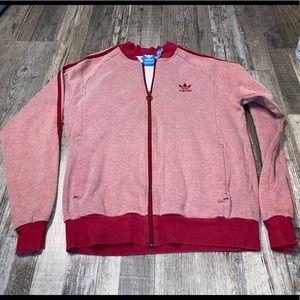 Adidas red zip up track jacket sweatshirt
